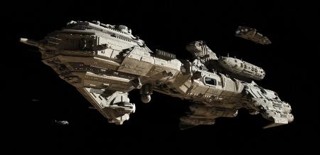 raumschiff: Science-Fiction-Szene von einem futuristischen interstellaren Eskortfregatte und kleinen Raumgleiter Reisen durch den Weltraum, 3d übertrug digital Abbildung
