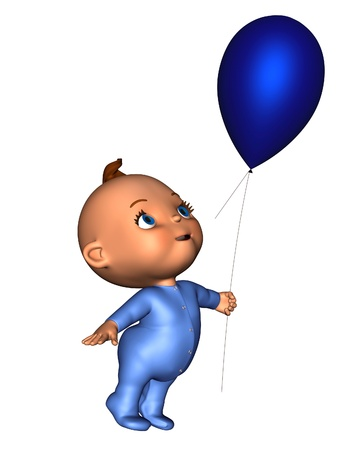tiptoe: Toon baby wearing a blue baby grow and holding a blue balloon, 3d digitally rendered illustration Stock Photo