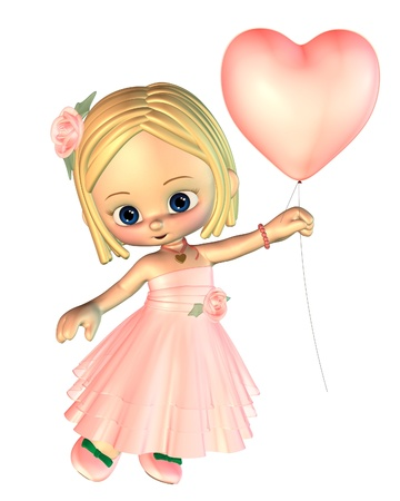 toon: Pretty toon style girl dressed in pink holding a pink heart-shaped Valentine balloon, 3d digitally rendered illustration
