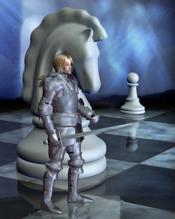 chess piece: The White Knight as a piece on a fantasy chess board, 3d digitally rendered illustration Stock Photo