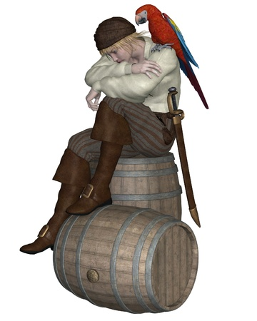 leather pants: Young pirate sitting on a barrel with a parrot on his shoulder, 3d digitally rendered illustration Stock Photo