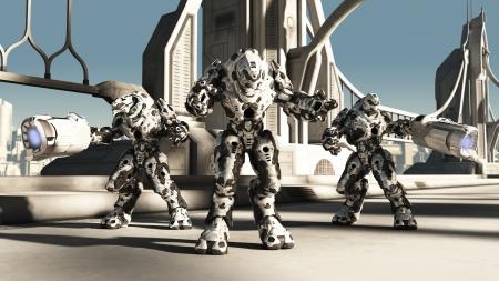 defending: Futuristic science fiction battle droids defending a bridge, 3d digitally rendered illustration