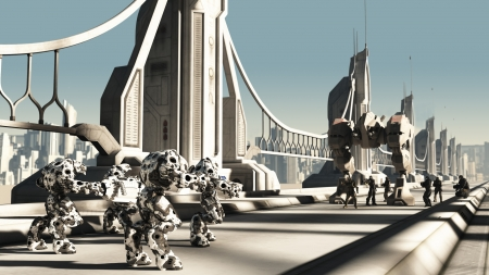 future space: Futuristic science fiction battle droids and space marines fighting for control of a skyway bridge, 3d digitally rendered illustration