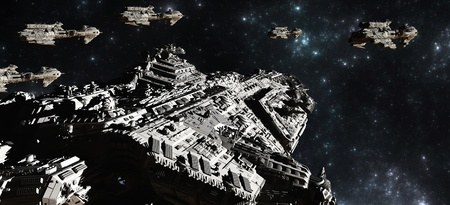 Battle fleet of giant space cruisers and small scout ships, 3d digitally rendered illustration Stock Photo