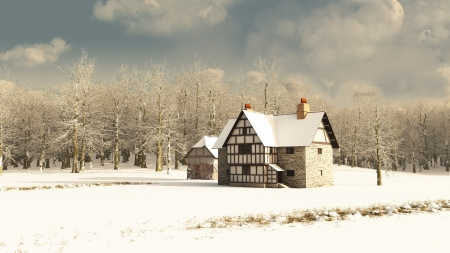 old barn: Snow covered rural winter landscape with a Medieval farmhouse and old half-timbered barn, 3d digitally rendered illustration Stock Photo