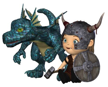 Toon style baby Viking with horned helmet, war hammer and shield and pet dragon, 3d digitally rendered illustration illustration