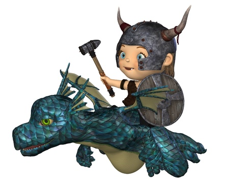 Toon style baby Viking with horned helmet, war hammer and shield flying on a pet dragon, 3d digitally rendered illustration
