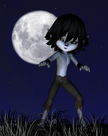wolf eyes: Cute toon wolf boy standing in front of a full moon, 3d digitally rendered illustration