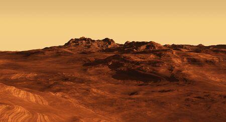 Imaginary Martian landscape illustration, 3d digitally rendered illustration illustration