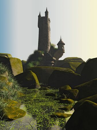 overlooking: Wizards tower on a rocky outcrop overlooking a green pool, 3d digitally rendered illustration