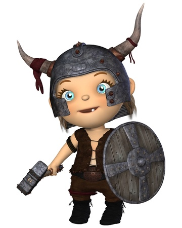 warhammer: Toon style baby Viking with horned helmet, war hammer and shield, 3d digitally rendered illustration