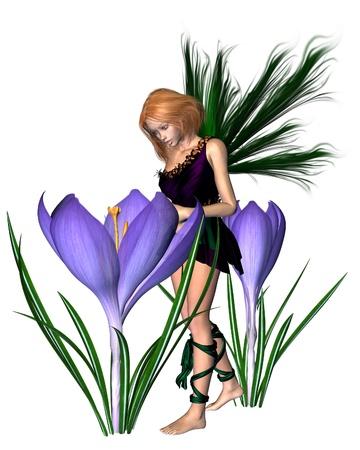 fey: Spring crocus fairy with purple flowers, 3d digitally rendered illustration
