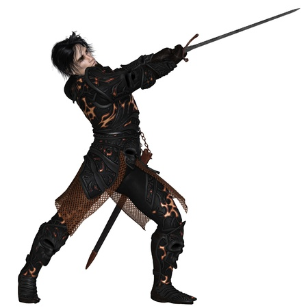 swordsman: Dark fantasy warrior knight wearing black skull armour, swinging a sword, 3d digitally rendered illustration