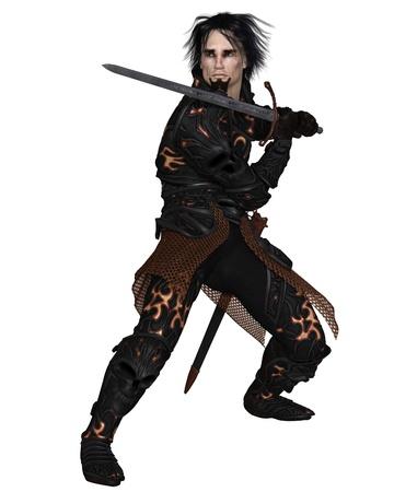 Dark fantasy warrior knight wearing black skull armour, holding a sword, 3d digitally rendered illustration