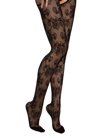 legs stockings: Illustration of a woman s sexy legs in black lace stockings, 3d digitally rendered illustration Stock Photo