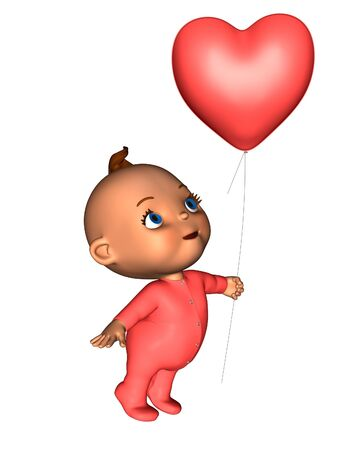 Toon baby wearing a pink baby grow and holding a heart-shaped balloon, 3d digitally rendered illustration