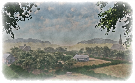 coppice: Watercolour style illustration of a rural farming landscape with farmhouse, barn and church  original illustration - not based on photo