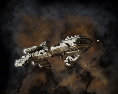 Science fiction scene of a futuristic interstellar escort frigate with illustrated nebula background, 3d digitally rendered illustration