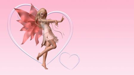 Pink Valentine Fairy and frosted pink hearts business or greetings card layout with copyspace, 3d digitally rendered illustration illustration