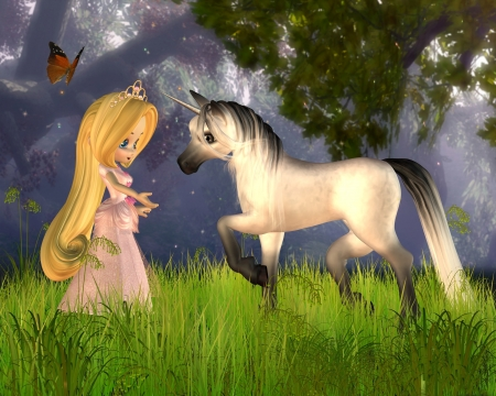 Cute toon Fairytale Princess and magical unicorn in a fantasy woodland scene, 3d digitally rendered illustration