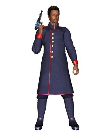 ray gun: Male starship officer in uniform carrying a ray gun, 3d digitally rendered illustration