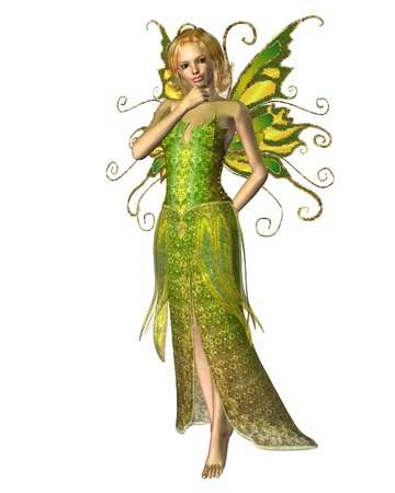 elven: Fairy spirit dressed in yellow and green spring colours in a thoughtful pose, 3d digitally rendered illustration
