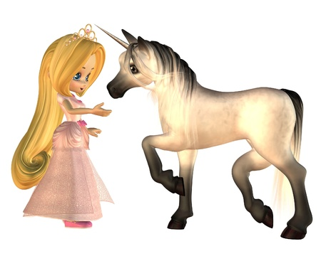 Cute toon Fairytale Princess and magical unicorn isolated on white, 3d digitally rendered illustration