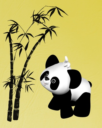 Cute toon style plush toy baby panda with bamboo illustration on textured yellow background illustration