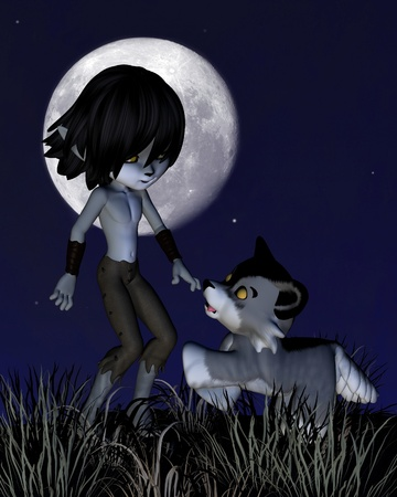 Cute toon wolf boy and his wolf standing in front of a full moon, 3d digitally rendered illustration Stock Illustration - 17358016