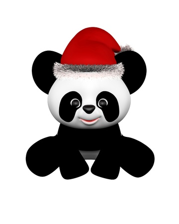 Illustration of a festive baby toon toy panda wearing a red Christmas Santa hat with silver tinsel, 3d digitally rendered illustration illustration