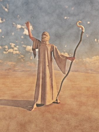 bandages: Watercolour style illustration of a robed desert nomad sorcerer or magician with magical staff, 3d digitallly rendered illustration digital illustration, not a painting or filtered photograph