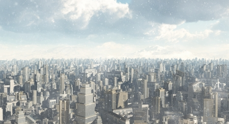 Skyline of a futuristic sci-fi city in a winter snowstorm, 3d digitally rendered illustration Stock Photo