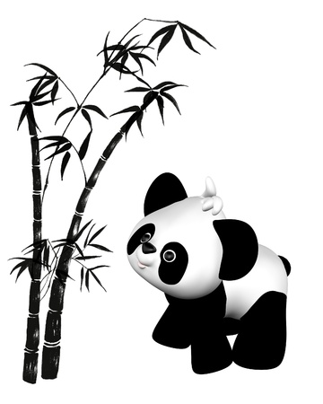 Cute toon style plush toy baby panda with bamboo illustration