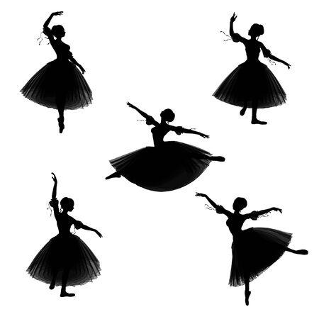 silueta bailarina: Siluetas ilustradas de una bailarina en un estilo romántico tutu en un fondo blanco en varias poses de ballet Foto de archivo