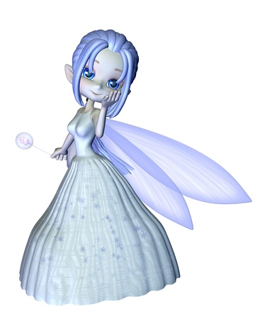 Cute toon frosty blue winter snowflake fairy, 3d digitally rendered illustration illustration