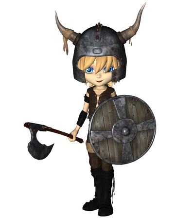 Cute toon style Viking warrior boy with horned helmet, battle axe and shield, 3d digitally rendered illustration illustration