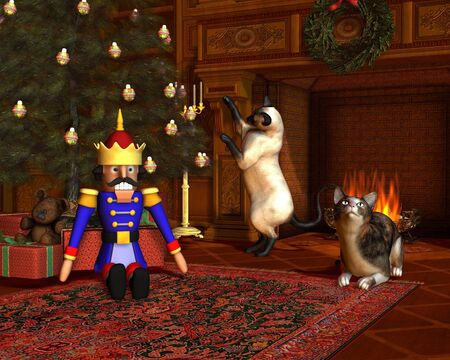 Two cats in front of the fire with festive tree and presents on Christmas Eve, 3d digitally rendered illustration illustration