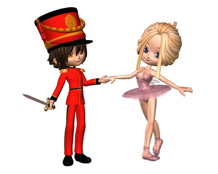 shoes cartoon: Cute toon style Sugarplum fairy ballerina and Nutcracker Prince from the Christmas ballet, The Nutcracker, 3d digitally rendered illustration Stock Photo