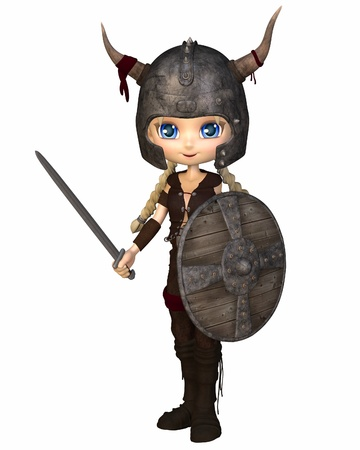 Cute toon style Viking warrior girl with horned helmet, sword and shield, 3d digitally rendered illustration