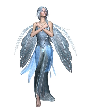 elven: Fairy winter spirit in an icy blue dress with snowflake wings, 3d digitally rendered illustration Stock Photo
