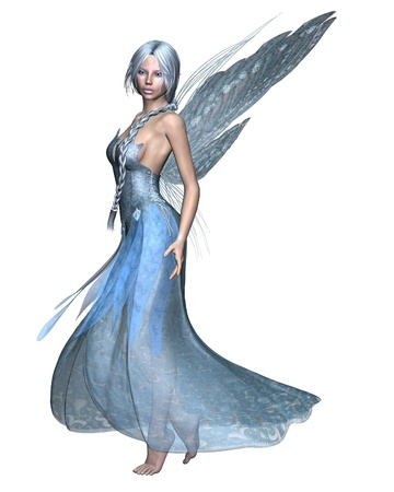 Fairy winter spirit in an icy blue dress with snowflake wings, 3d digitally rendered illustration Stock Photo