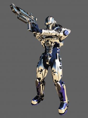 Illustratie van een Science fiction Space Marine met heldere metalen pantser gericht zijn pistool geïsoleerd op een grijze achtergrond, 3d digitaal teruggegeven illustratie