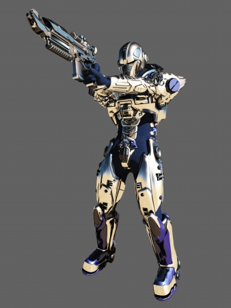 Illustration of a Science fiction space marine with bright metallic armour aiming his gun isolated on grey background, 3d digitally rendered illustration
