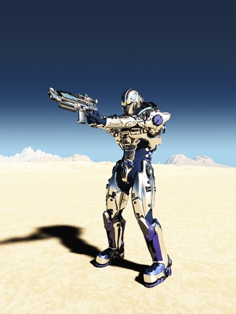 scifi: Illustration of a Science fiction space marine with bright metallic armour aiming his gun in a desert landscape with distant mountains, 3d digitally rendered illustration Stock Photo