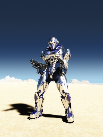 Illustration of a Science fiction space marine with bright metallic armour and two guns in a desert landscape with distant mountains, 3d digitally rendered illustration