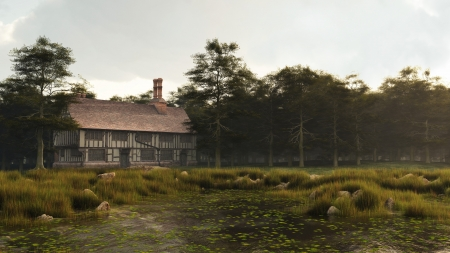 lakeside: Illustration of a Half-timbered traditional English late medieval, Elizabethan or Tudor manor house overlooking a small pond, 3d digitally rendered illustration