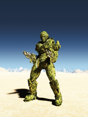 Illustration of a Science fiction space marine with two guns in a desert landscape with distant futuristic city, 3d digitally rendered illustration illustration