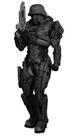 Illustratie van een Science fiction space marine commando geïsoleerd op wit, 3d digitaal teruggegeven illustratie Stockfoto