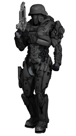 Illustration of a Science fiction space marine commando isolated on white, 3d digitally rendered illustration Stock Photo