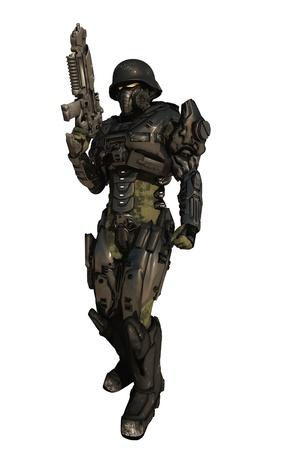Illustratie van een Science fiction Space Marine Commando dragen metalen pantser geïsoleerd op wit, 3d digitaal teruggegeven illustratie